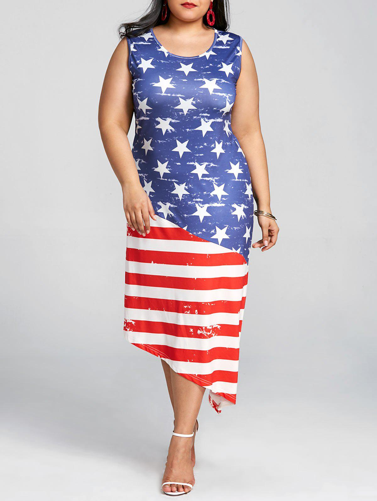 75% OFF] Sleeveless Plus Size Patriotic American Flag Dress | Rosegal