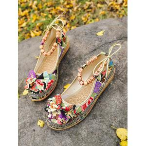 Ethnic Floral Bowknot Beads Loafers -