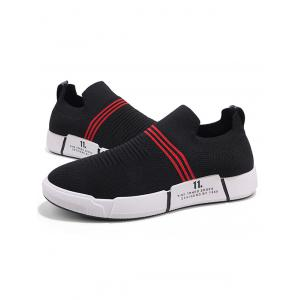 Striped Knitted Fabric Elastic Slip On Casual Sneakers -