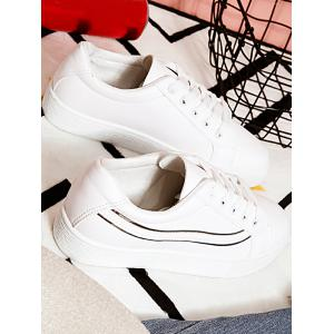 Faux Leather Lines Low Heel Skate Shoes -