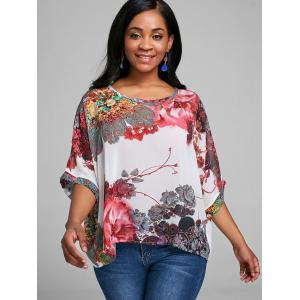 Batwing Sleeve Floral Chiffon Top -