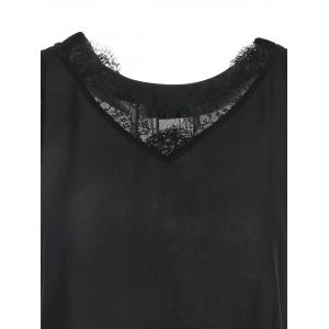 Scalloped Lace Panel High Low Blouse -