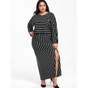 V Neck Striped Top and Slit Skirt Plus Size Suit -