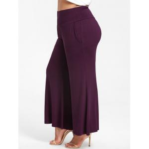 High Rise Plus Size Flowy Pants with Pockets -
