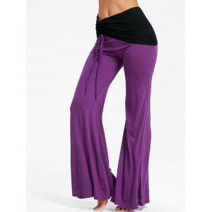 High Rise Two Tone Ruched Flare Pants -
