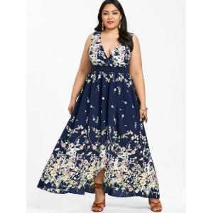 Plus Size Plunging Neck Floral Maxi Dress -