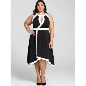 Plus Size Sleeveless Keyhole Neck Dress -