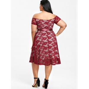 Plus Size Off The Shoulder Lace Party Dress -