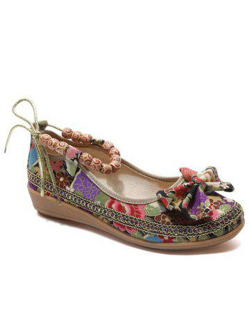Affordable Ethnic Floral Bowknot Beads Loafers