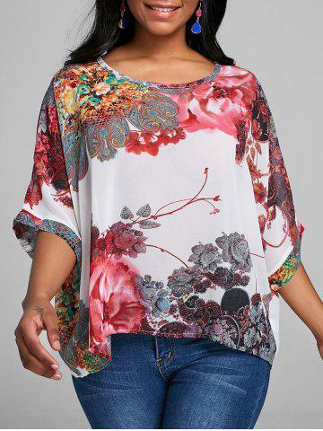 Outfits Batwing Sleeve Floral Chiffon Top