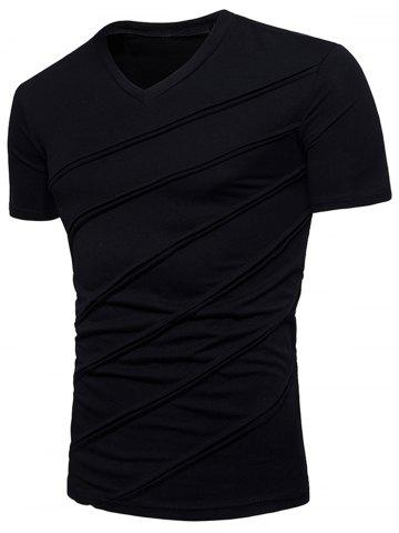 V Neck Diagonal Line Solid Color T shirt