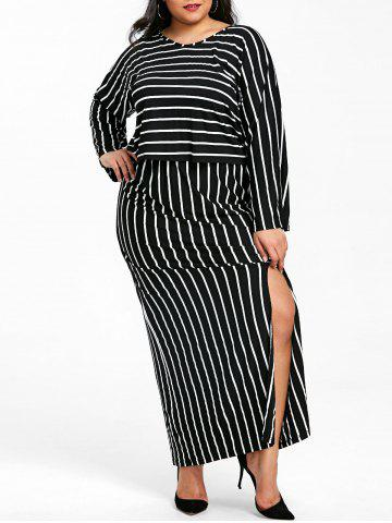 Hot V Neck Striped Top and Slit Skirt Plus Size Suit