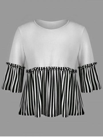 Discount Flare Sleeve Plus Size Striped Insert T-shirt