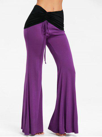Buy High Rise Two Tone Ruched Flare Pants