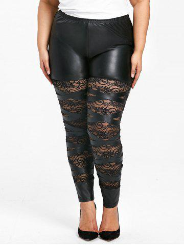 Fashion Plus Size High Waist Sheer Lace Insert Skinny Pants