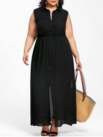 Unique Plus Size Sleeveless Flowing Shirt Dress