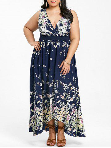 Cheap Plus Size Plunging Neck Floral Maxi Dress