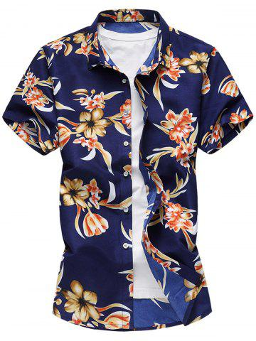 Unique Blooming Flower Pattern Casual Short Sleeve Shirt