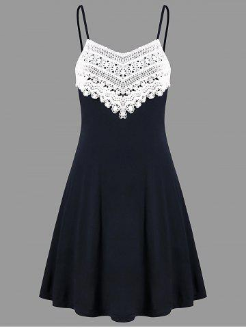 Crochet Lace Panel Mini Slip Dress