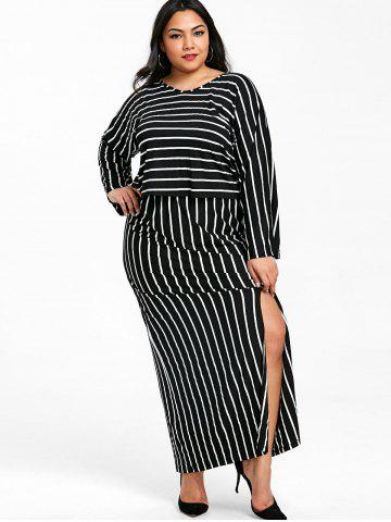 3b590434eb6b V Neck Striped Top and Slit Skirt Plus Size Suit