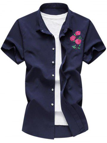 Embroidered Turndown Collar Short Sleeve Shirt
