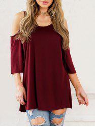 Cold Shoulder Scoop Neck Tunic T-shirt -