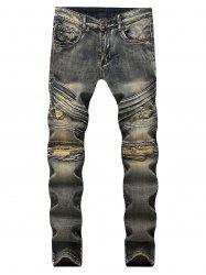 Zipper Fly Torn Distressed Jeans -