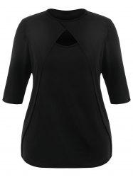 Front Slit Plus Size Cut Out T-shirt -