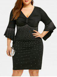 Plus Size Bell Sleeve Sparkly Empire Waist Dress -