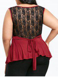 Plus Size Sheer Lace Trim V Neck Tank Top -