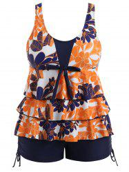 Plus Size Floral Tiered Tankini Set -