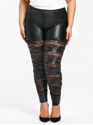Plus Size High Waist Sheer Lace Insert Skinny Pants -