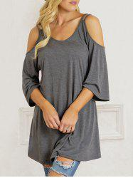 Cold Shoulder Scoop Neck Tunic T-shirt - Gray - Xl