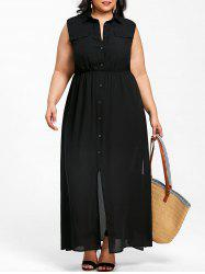 Plus Size Sleeveless Flowing Shirt Dress -