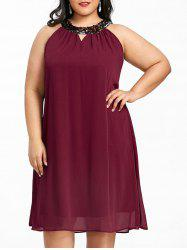 Plus Size Keyhole Neck Chiffon Trapeze Dress -