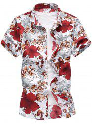 Casual Leaves Floral Pattern Short Sleeve Shirt -