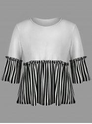 Flare Sleeve Plus Size Striped Insert T-shirt -