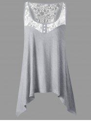 Lace Panel Plus Size Sharkbite Tank Top -