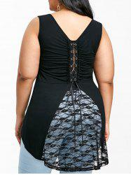 Plus Size Lace Up High Low Tank Top -