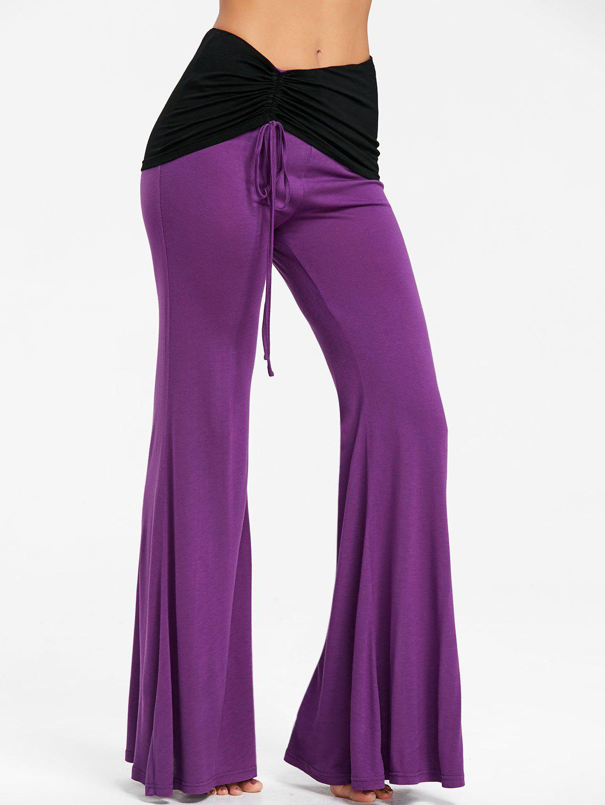 Fancy High Rise Two Tone Ruched Flare Pants