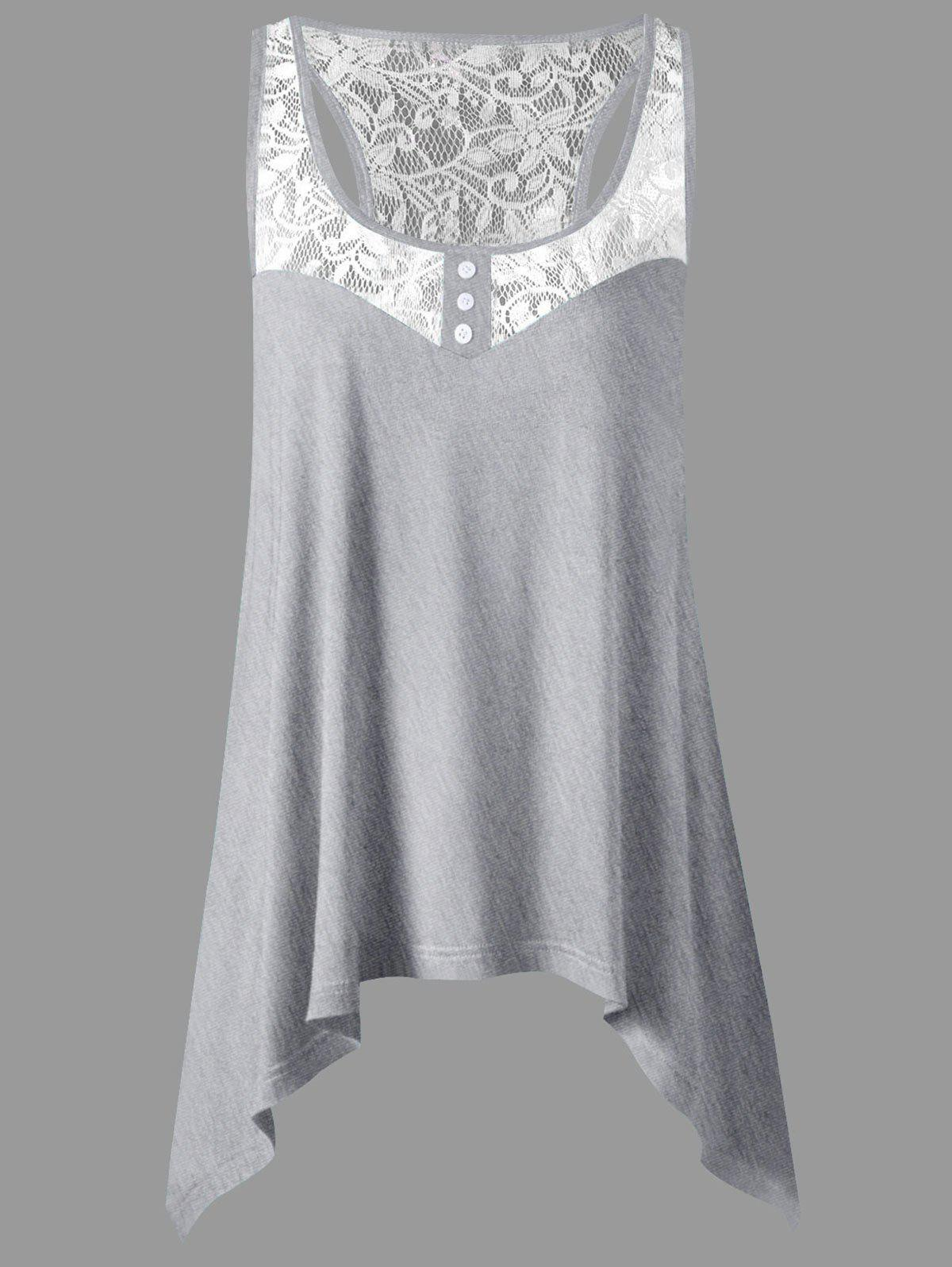 Cheap Lace Panel Plus Size Sharkbite Tank Top