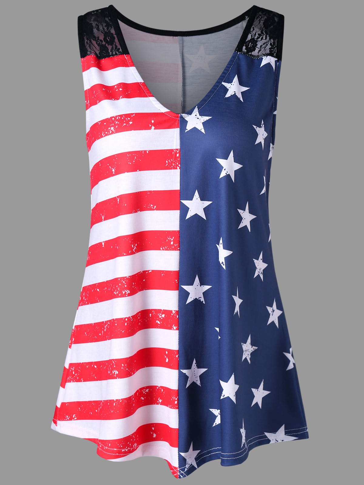 Fashion Lace Panel American Flag Trapeze Tank Top