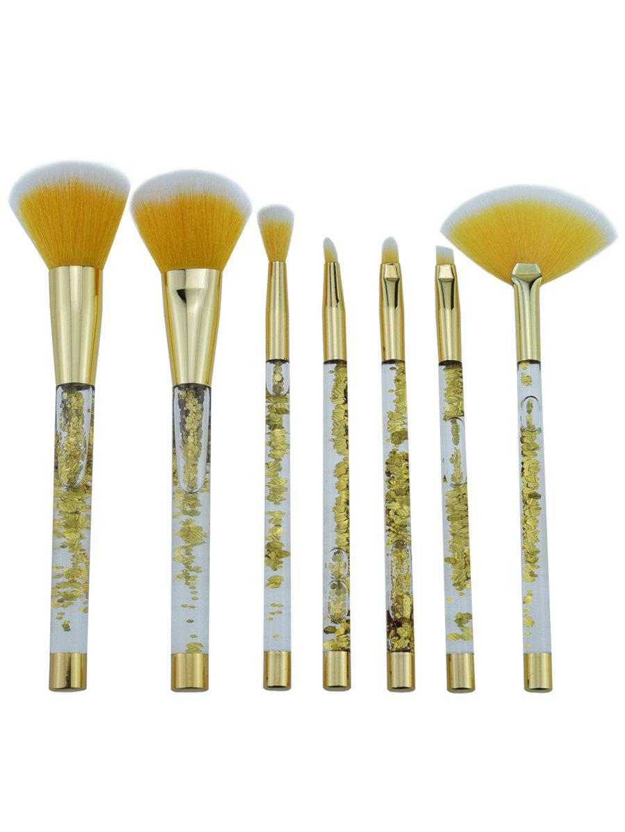 Sale 7Pcs Glitter Powder Handle Ultra Soft Cosmetic Brush Set with Bag
