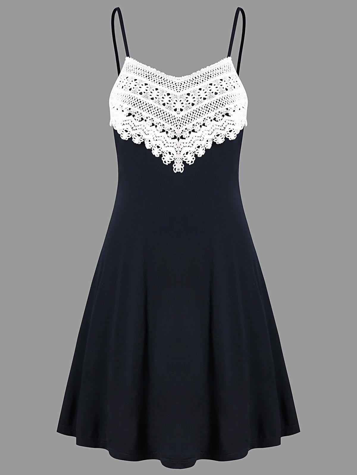 Outfits Crochet Lace Panel Mini Slip Dress