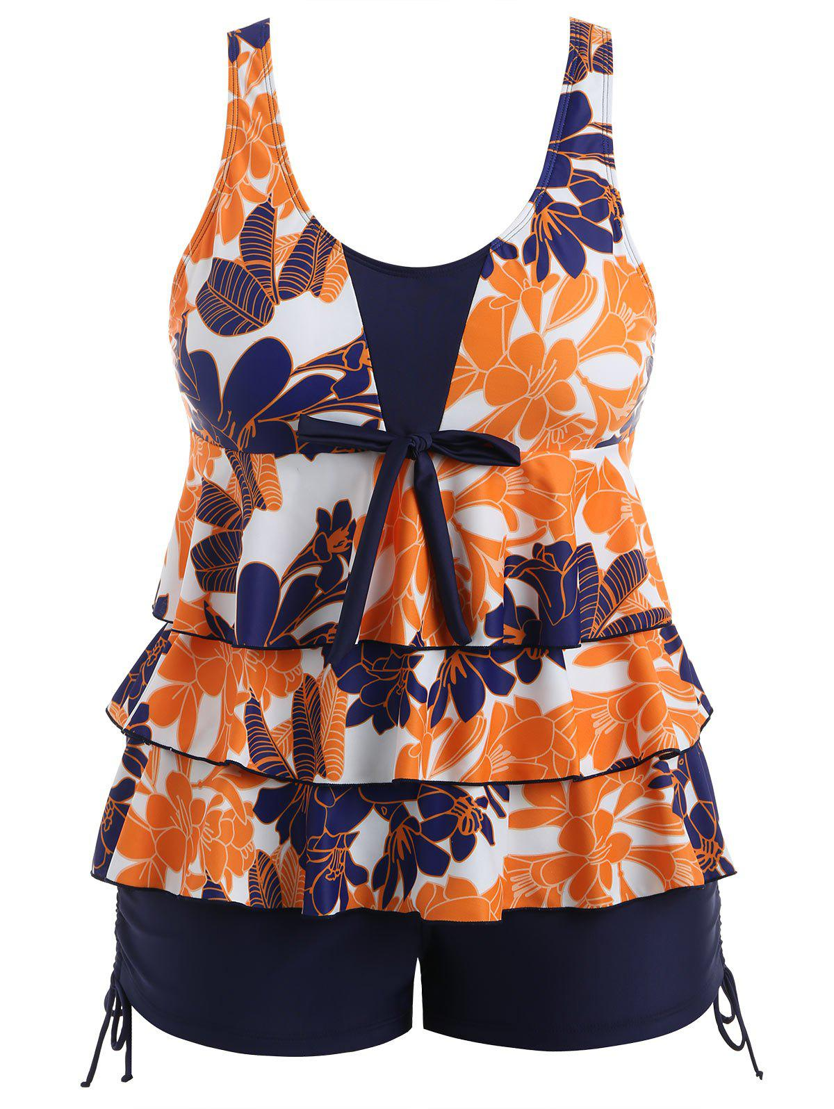 Buy Plus Size Floral Tiered Tankini Set