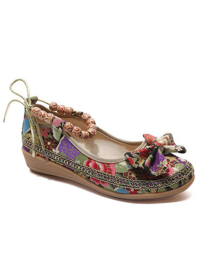 Cheap Ethnic Floral Bowknot Beads Loafers