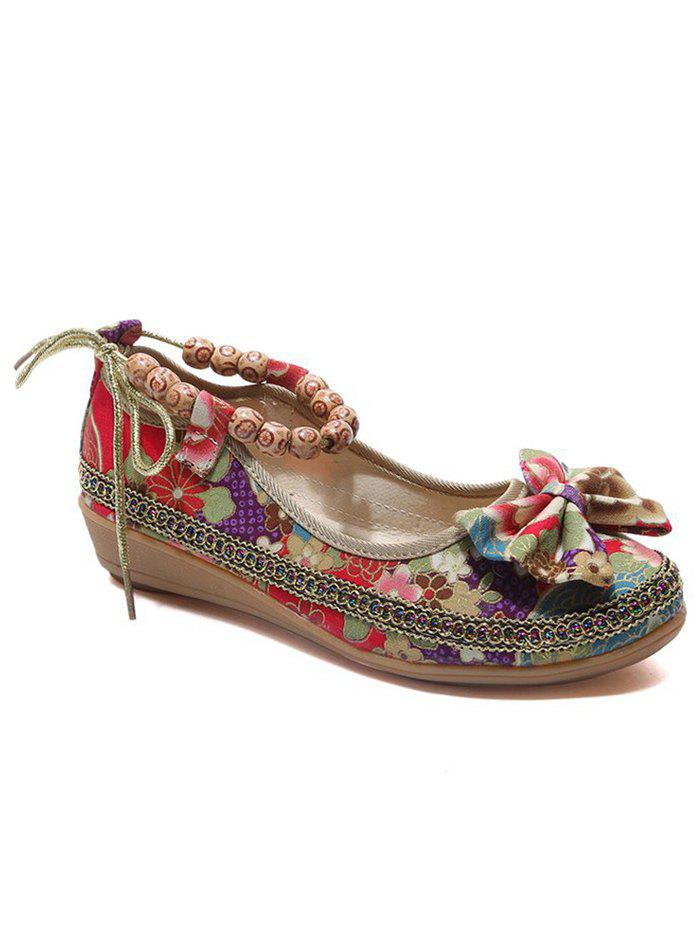 Online Ethnic Floral Bowknot Beads Loafers
