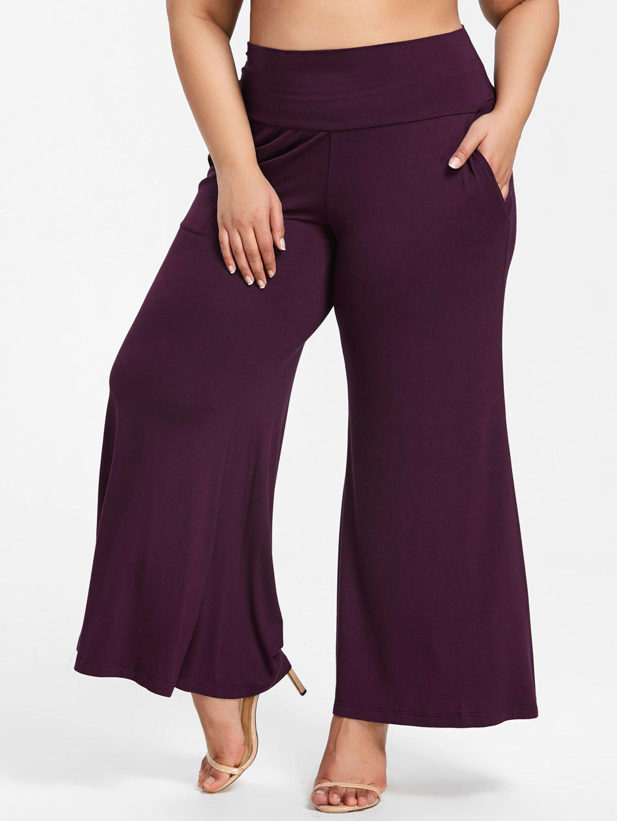 Online High Rise Plus Size Flowy Pants with Pockets