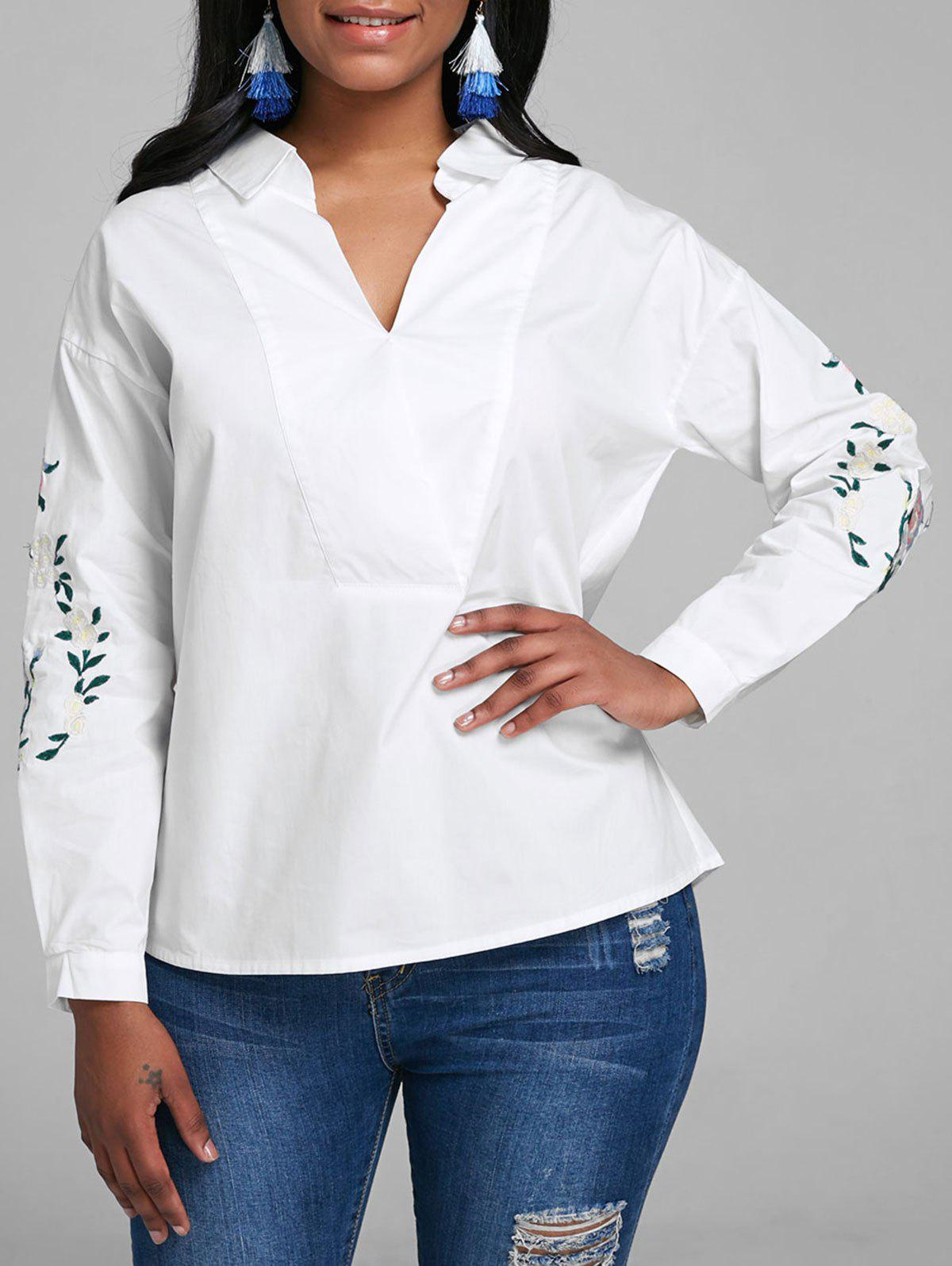 Store V Neck Embroidered Top