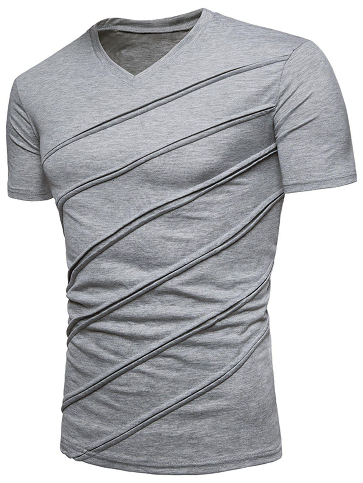 V Neck Diagonal Line Solid Color T shirt 260226809